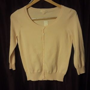 ** Ambiance Basic Cardigan Sweater in PASTEL Peach